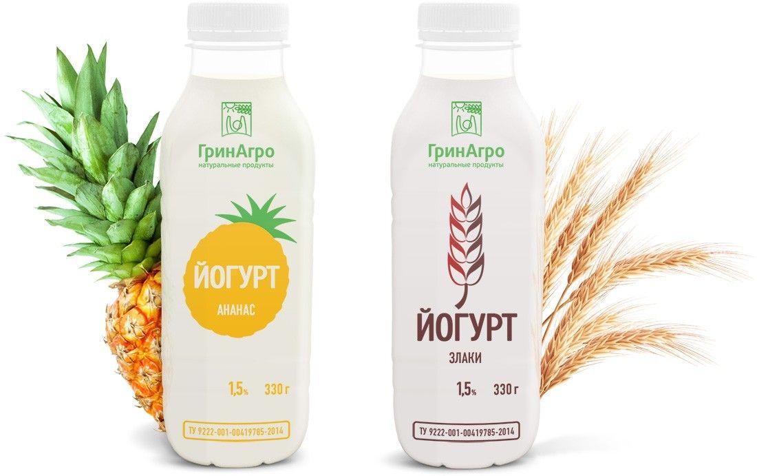 Дизайн упаковки питьевых йогуртов ГринАгро