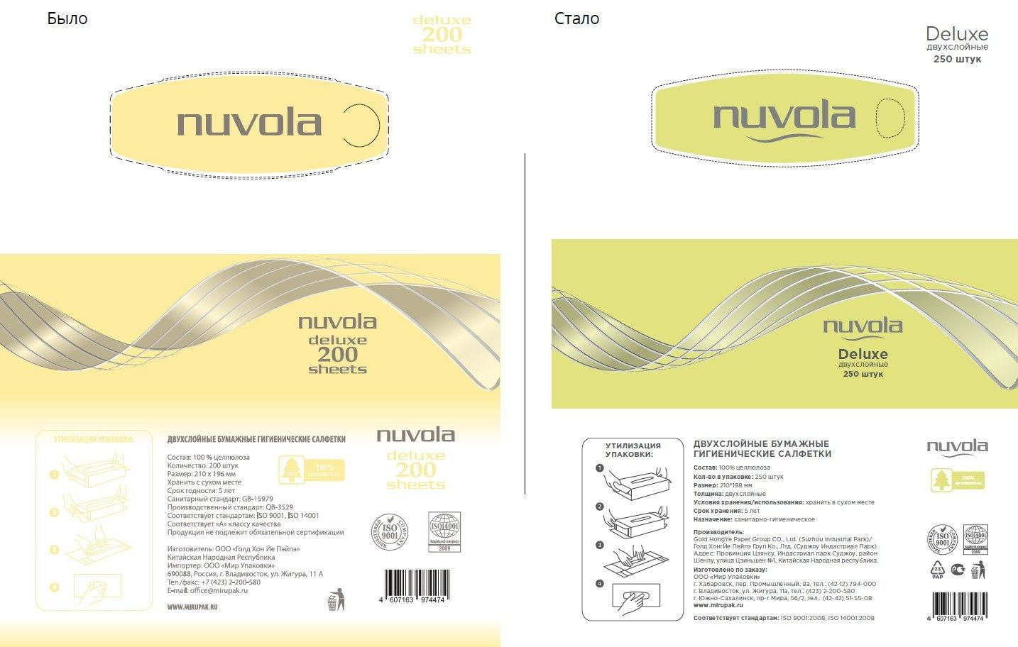 Разработка дизайна упаковки салфеток Nuvola